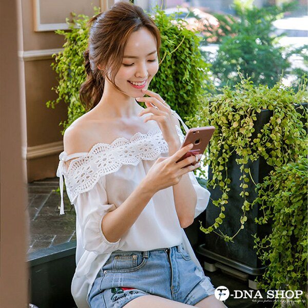 F-DNA★甜美肩綁帶蕾絲雪紡上衣(白-S-XL)【ETD2279】 1