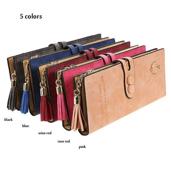 Synthetic Leather Card Holder Long Trifold Wallet Clutch Checkbook Tassel Handbag Purse 0