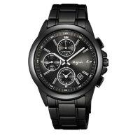 agnès b.到agnes b 7T92-0HV0SD(BF8305P1)運動三眼時尚腕錶/黑面40mm