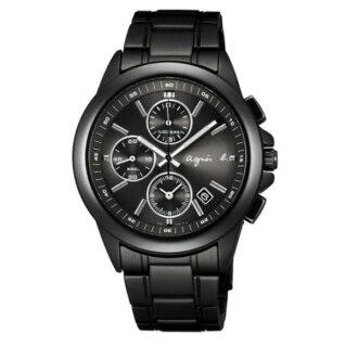 agnes b 7T92-0HV0SD(BF8305P1)運動三眼時尚腕錶/黑面40mm