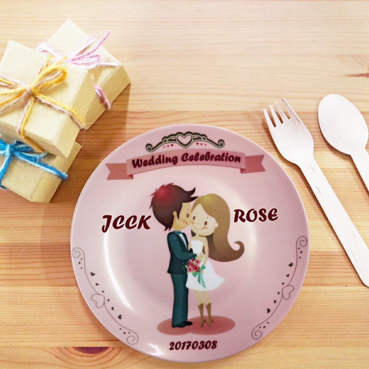 《陶緣彩瓷》 粉色婚禮Wedding Celebration-6.5吋骨瓷盤 / 結婚禮物/婚禮小物 / 伴娘禮物 / 客製化