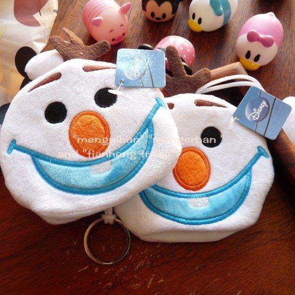 =優生活=迪士尼 冰雪奇緣 雪寶可愛鑰匙套 鑰匙包 零錢包 毛絨鑰匙圈