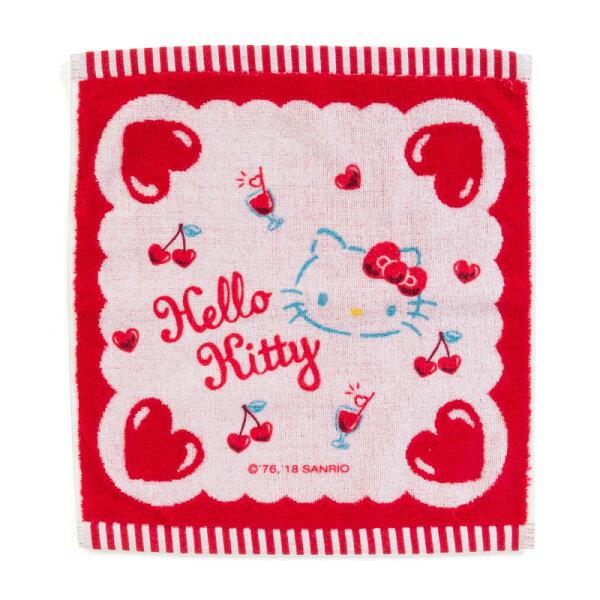 【真愛日本】18042500043純棉無橪系方巾-KT紅ACK三麗鷗凱蒂貓kitty方巾擦手巾
