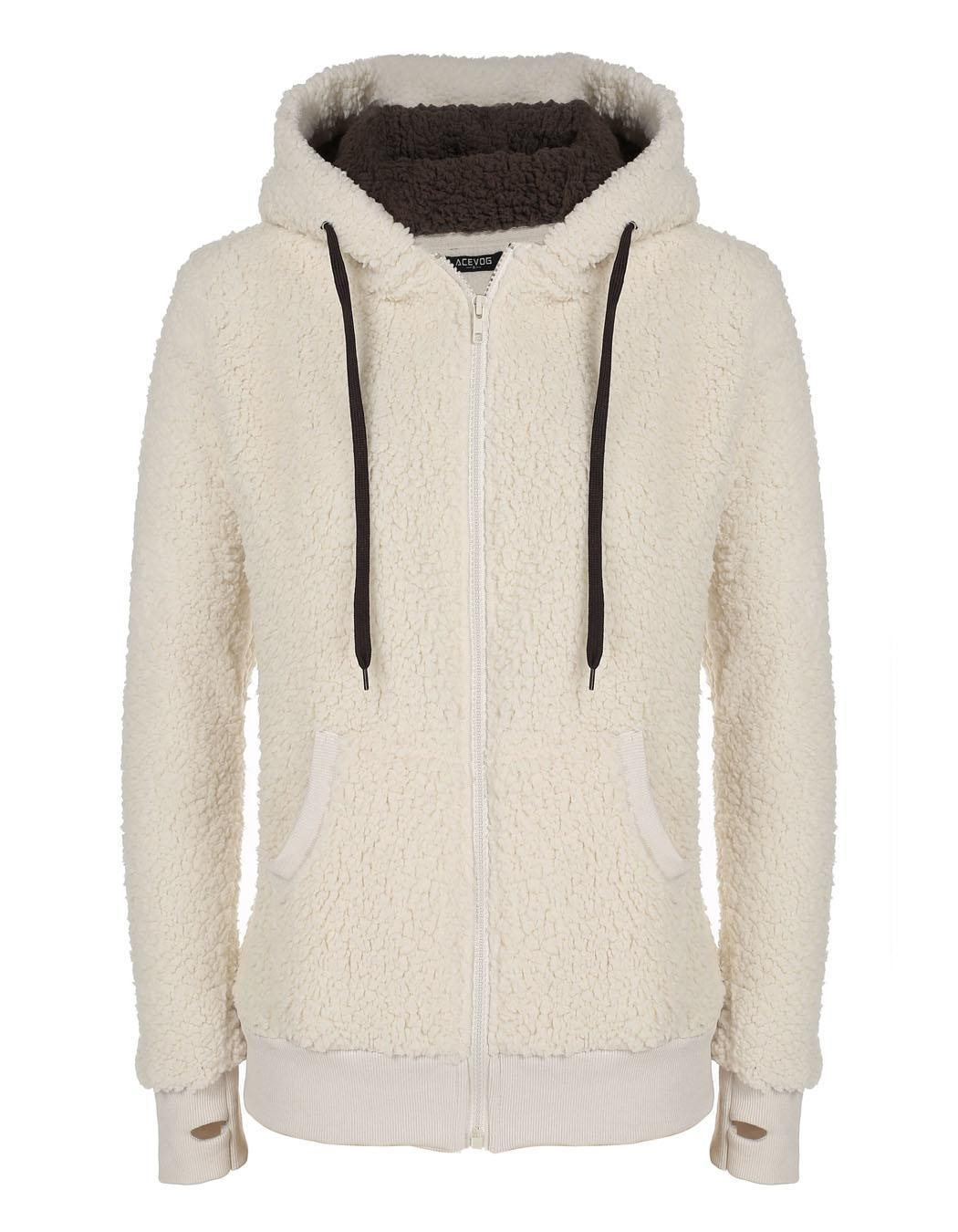 Women Soft Fleece Hooded Jacket Coat 3
