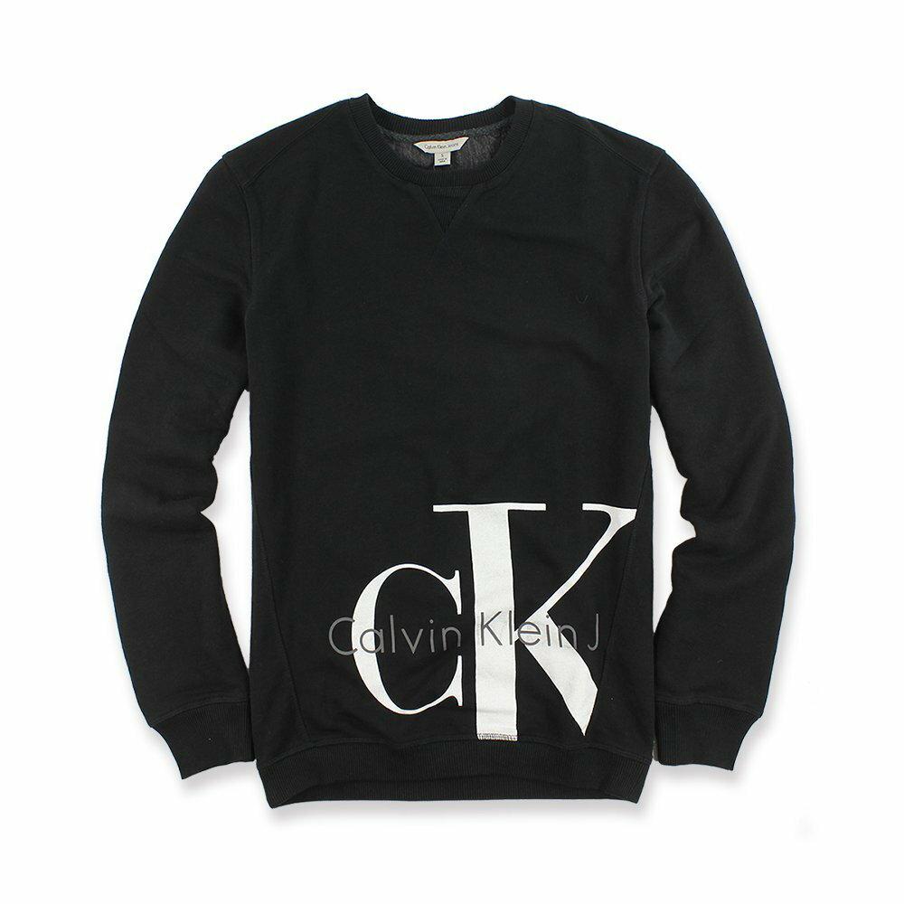 美國百分百【全新真品】Calvin Klein 大學T CK 長袖 T恤 T-shirt 大logo 黑色S-XL I652