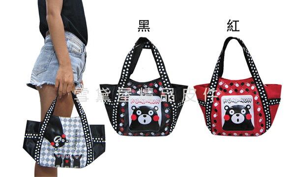 ~雪黛屋~熊本熊手提包餐袋簡單提袋日本專櫃授權簡易袋防水尼龍布材質休閒外出上班可手提隨身物品全齡適用HXKU0001