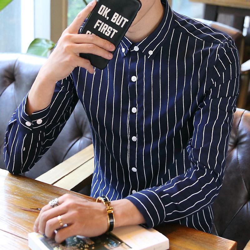 男士長袖條紋襯衫修身寸衣青少年發型師免燙休閑襯衣學生潮男1入