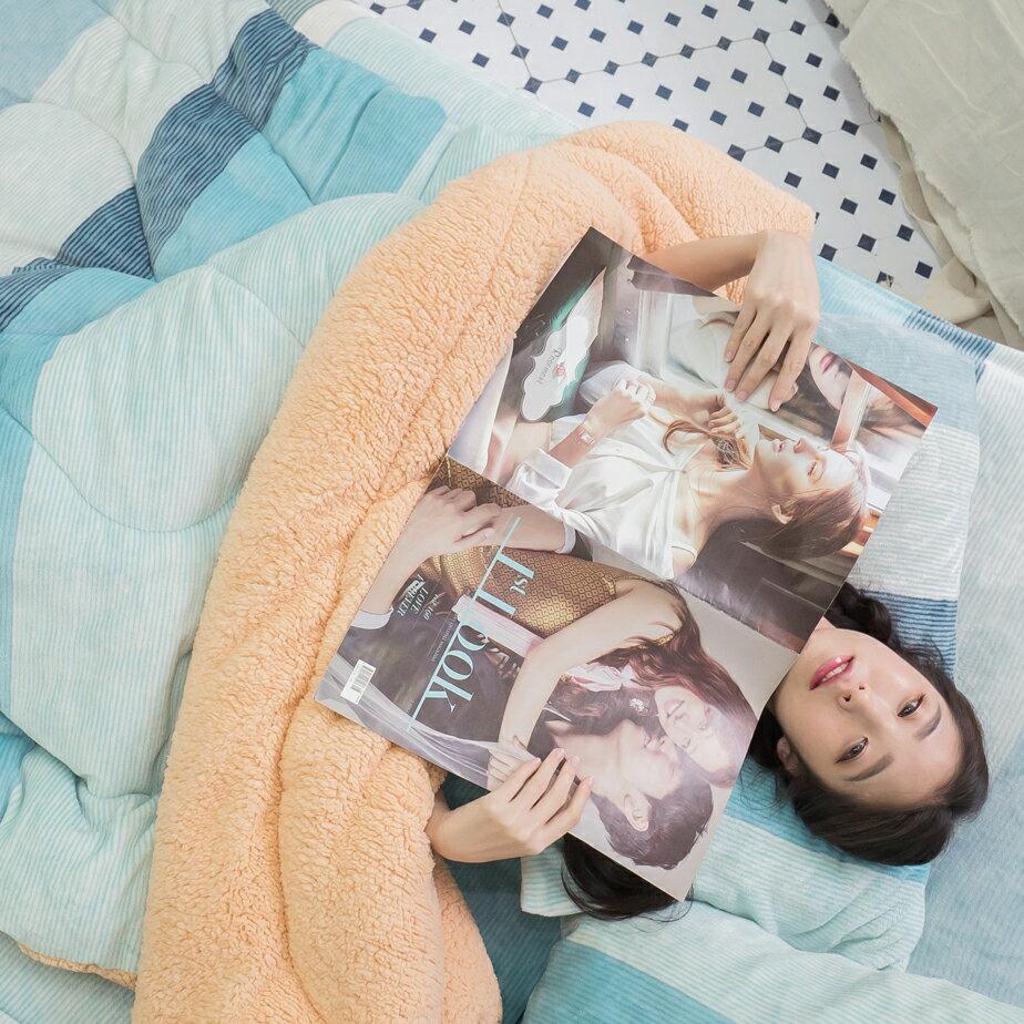 Sweet-Blue 羊羔絨暖被 內有充棉 可當棉被使用 150cmX195cm (正負5cm) 台灣製 7
