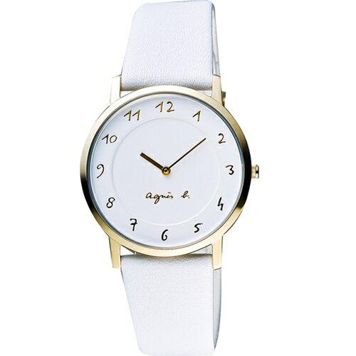 AGNES.B/浪漫法國時尚圈藝術女腕錶/白/7N00-0BH0W