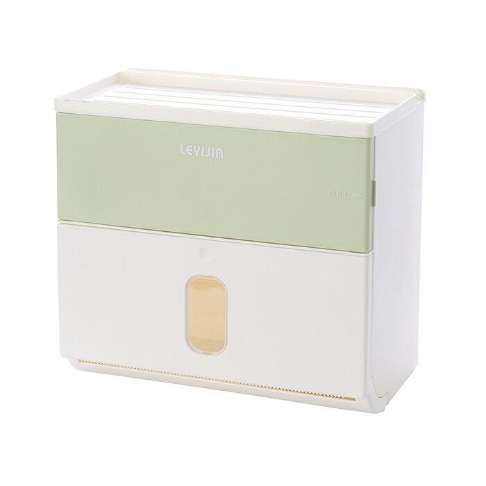 面紙盒 衛生紙大容量雙層 收納 無痕壁掛 免打孔 廁所 浴室 防水面紙盒 浴室 手機架 紙巾盒 牆面無痕貼 2