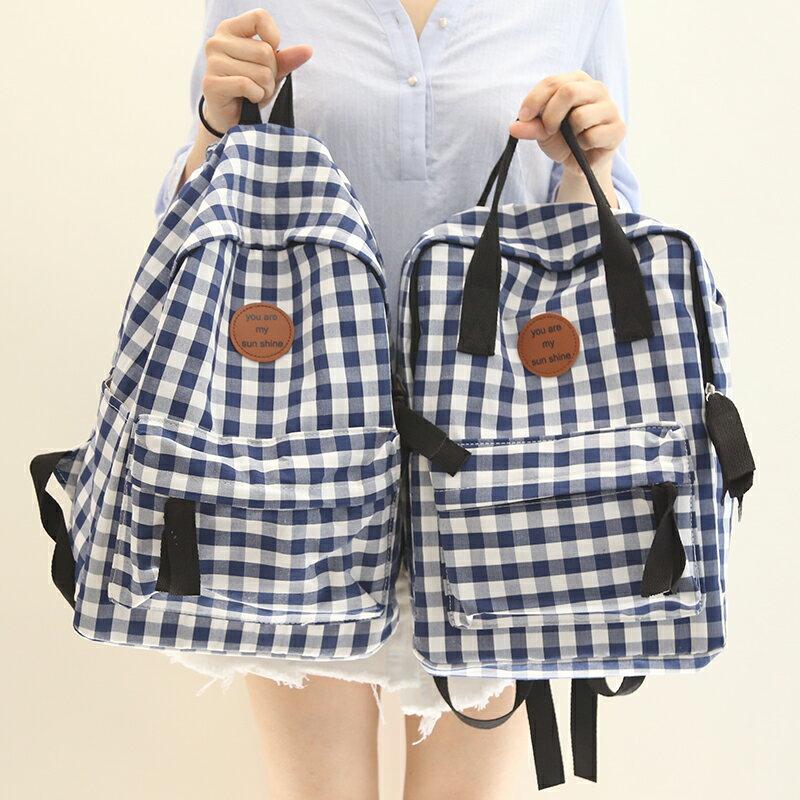 春夏新款 清新格子 後背包 雙肩包 學生書包 旅遊包 大學生書包/單售