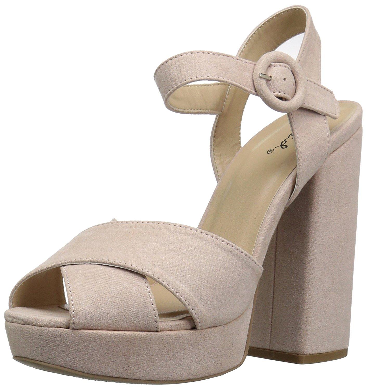 6b68acaa41c Qupid Women's Alisha-01 Heeled Sandal, Nude, Size 6.0