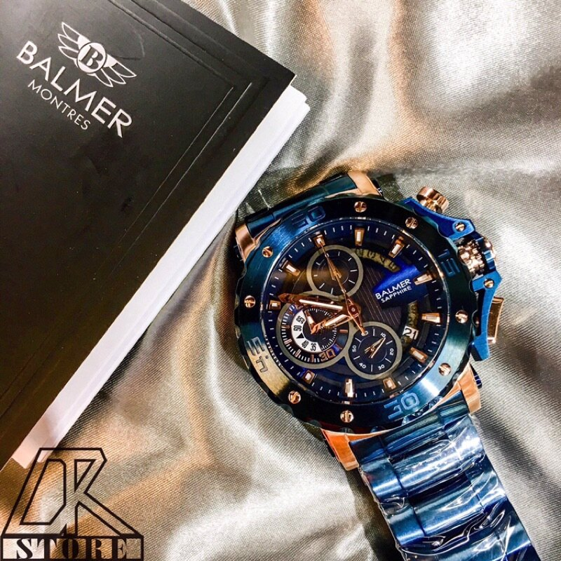 -DTK-官方授權經銷🎖實體店面 BALMER 賓馬王 賓馬7975 鋼錶帶 三眼錶 男錶 石英錶 藍金 黑金 黑 4