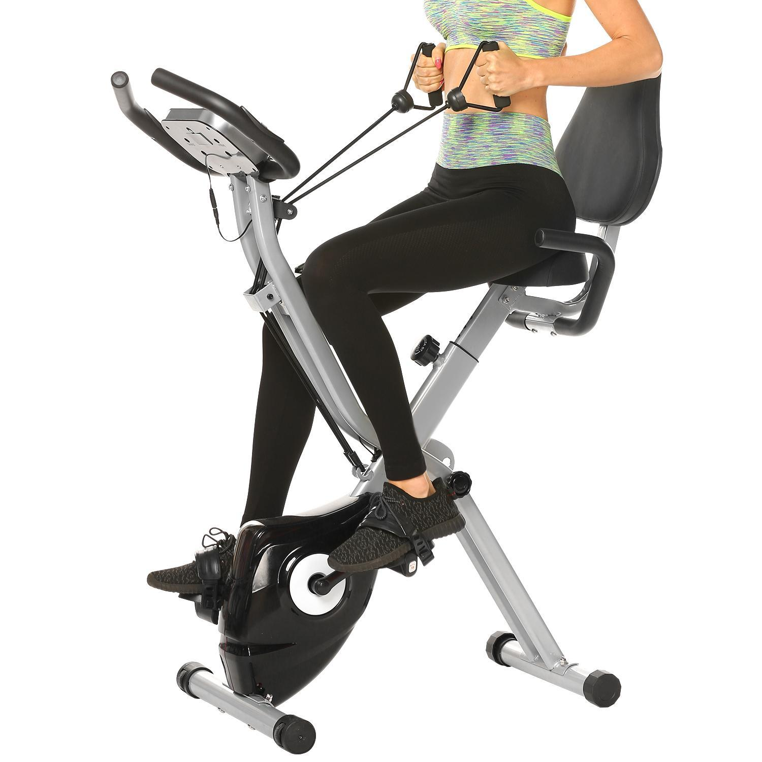 Folding 10 Levels Magnetic Resistance Upright Exercise Bike