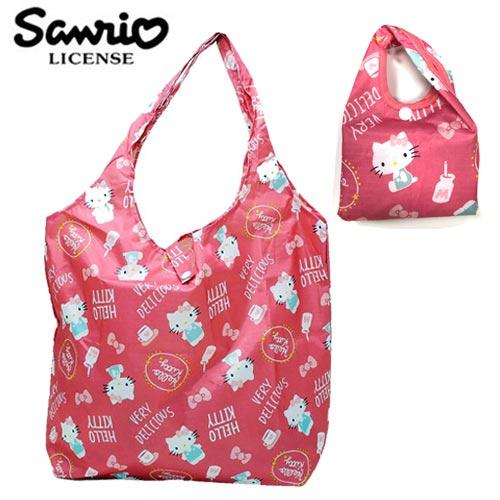 粉紅款【日本正版】凱蒂貓 摺疊 購物袋 環保袋 手提袋 防潑水 Hello Kitty 三麗鷗 Sanrio - 451264