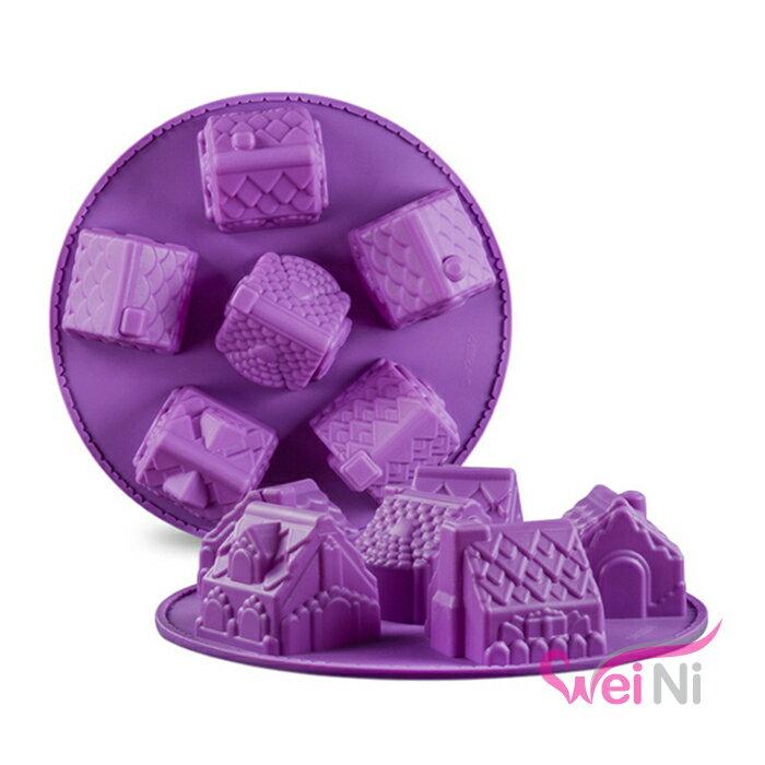 wei~ni 矽膠模 房子 6連 蛋糕模 矽膠模具 巧克力模型 冰塊模型 餅乾模具 情人節