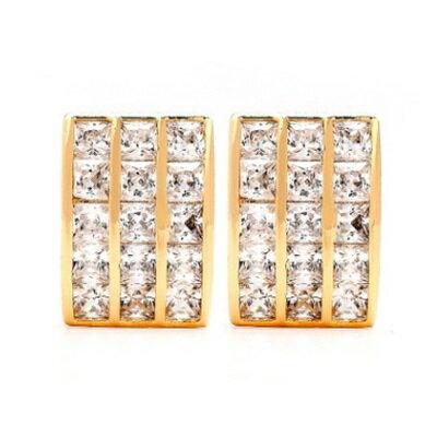 純銀耳環鍍18K金鑲鑽耳飾~ 耀眼亮麗生日情人節 女飾品2色73cr298~ ~~米蘭 ~
