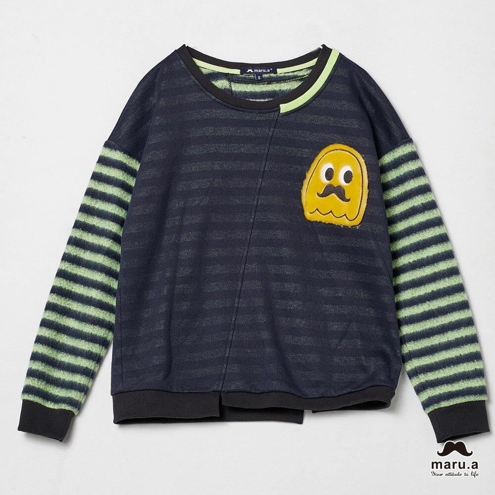 【maru.a】亮眼條紋小幽靈貼布袖T-shirt(2色)7911239 6
