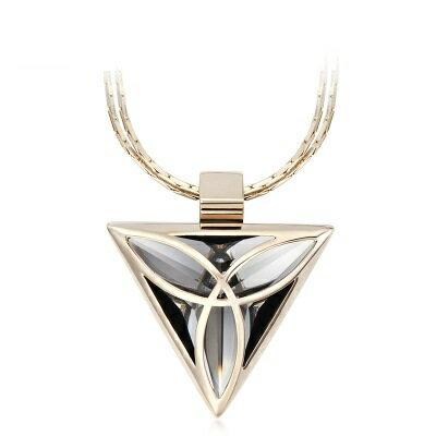 鑲鑽項鍊毛衣鍊~ 簡約三角女飾品73fv192~ ~~米蘭 ~
