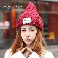 毛帽。 AngelNaNa 。韓版NYC字母 貼布 尖尖奶嘴 保暖 女 針織帽【HA0009】
