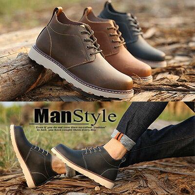 ManStyle:★任2雙$444雙免運★ManStyle潮流嚴選韓版純色縫線皮質加絨復古短靴工程靴【09S1512】