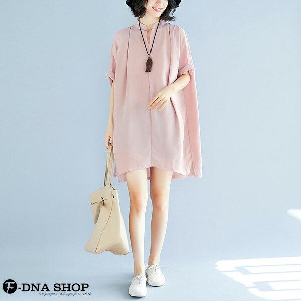 加大尺碼★F-DNA★溫柔雪紡短袖連衣裙洋裝(粉-大碼F)【EG22060】 4