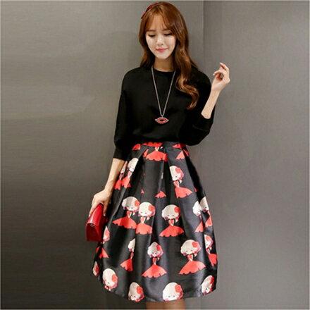 《 任選2件55折》*ORead* 韓版時尚白黑色T恤衫甜美半身裙(2色M~2XL) 1