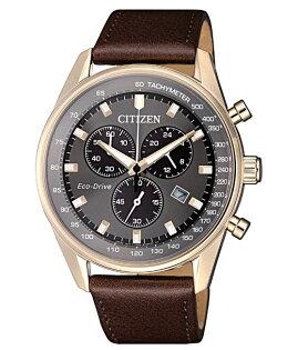 CITIZEN星辰AT2393-17H沉穩光動能三眼計時腕錶玫瑰金+灰面40mm
