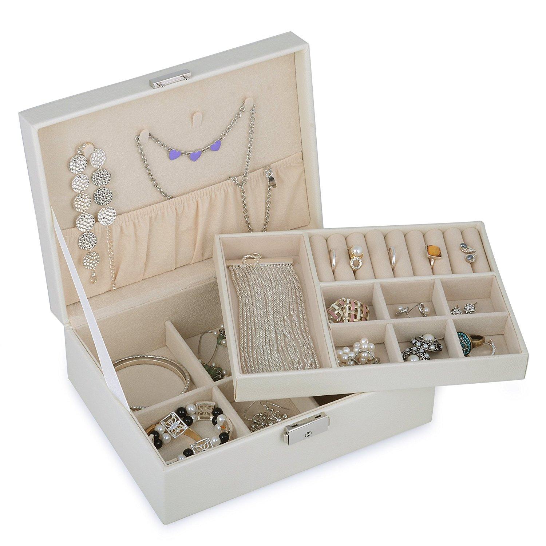 New Shining Image Rakuten Kendal 2 Trays White Leather Jewelry