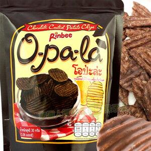泰國Rinbee歐趴拉巧克力薯片/洋芋片 [TA040]   泰國Rinbee歐趴拉巧克力薯片  來自泰國的銅板美食~o-pa-la巧克力薯片~厚切波浪洋芋片沾裏上香濃巧克力,洋芋片與巧克力的完美融合,混搭滋味讓人忍不住一片接一片。