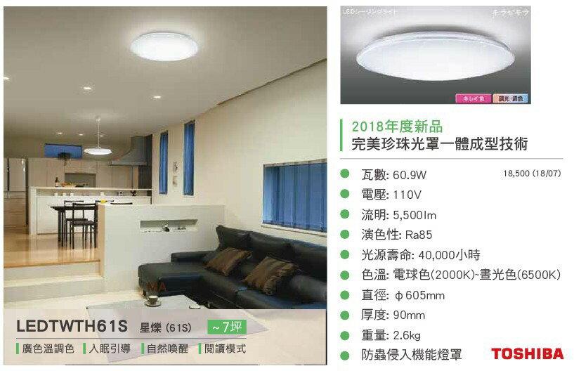 Toshiba東芝★2018新款 免運 星燦 LED 60.9W 110V 智慧調光調色 廣色溫吸頂燈★永光照明LEDTWTH61S