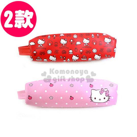 〔小禮堂〕Hello Kitty 皮革拉鍊筆袋~2款選1.粉  紅~提把