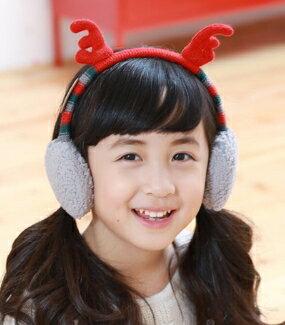 Kocotree◆秋冬可愛聖誕麋鹿角造型兒童保暖耳罩-紅色