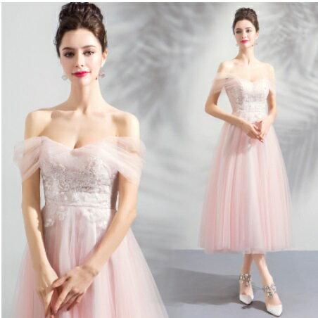 天使嫁衣【AE2288】淺粉色露肩紗袖遮臂氣質中長款禮服˙預購訂製款