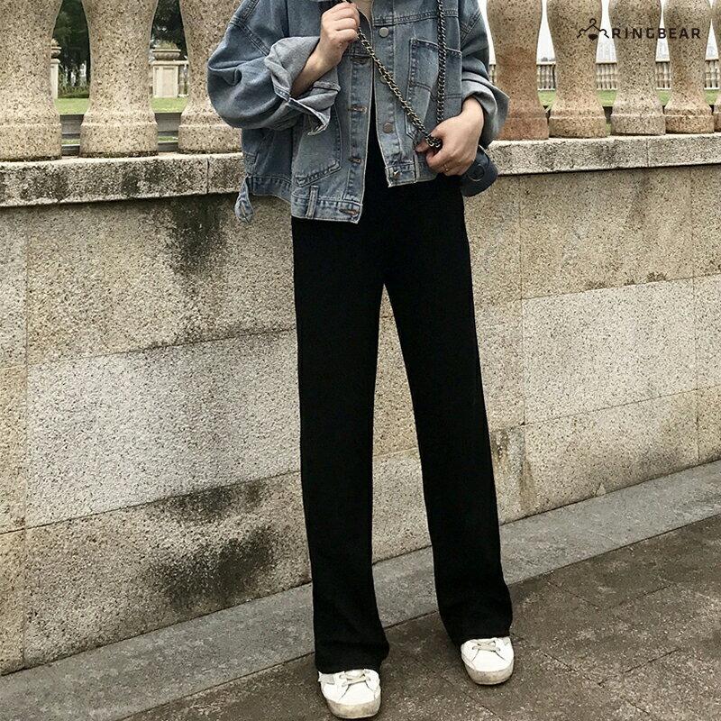直筒褲--超顯瘦時尚優雅墬感寬鬆百搭鬆緊高腰直筒長褲(黑S-5L)-P146眼圈熊中大尺碼 3