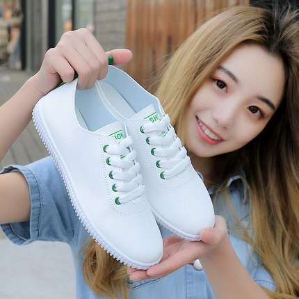 休閒小白鞋 透氣小白鞋女鞋年新款春季鞋子平底春秋單鞋帆布百搭白鞋『SS2086』