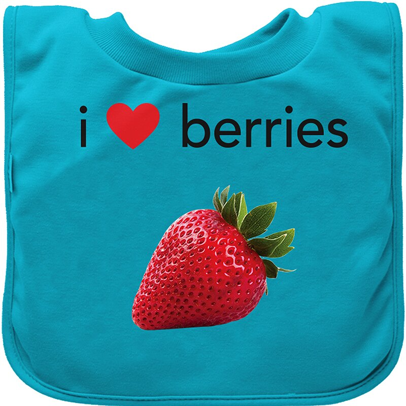 【愛寶貝 好物】美國green sprouts 套頭式三層吸水 防水【口水巾圍兜】單入組_淺藍草莓_GS100060-4