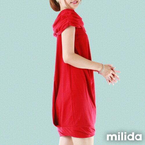 【Milida,全店七折免運】-夏季尾聲-素色款-一字領花苞洋裝 3