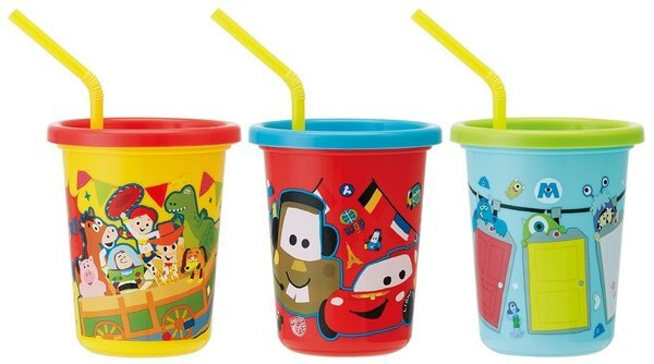 X射線 精緻禮品:X射線【C379550】皮克斯系列卡通日本製塑膠吸管杯3入320ml,水瓶隨身瓶直飲水壺學習杯漱口杯果汁杯日本製