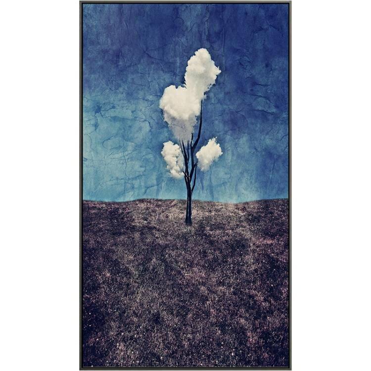 618限時搶購 壁畫 三朵白云玄關裝飾畫門口藍色壁畫進門家裝過道走廊抽象玄幻牆畫 8號時光