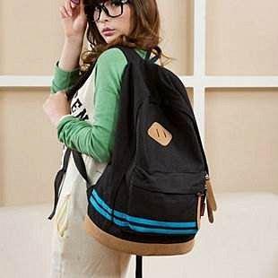 =優 =韓國 帆布豬鼻子休閒雙肩包 休閒包 後背包 學生書包