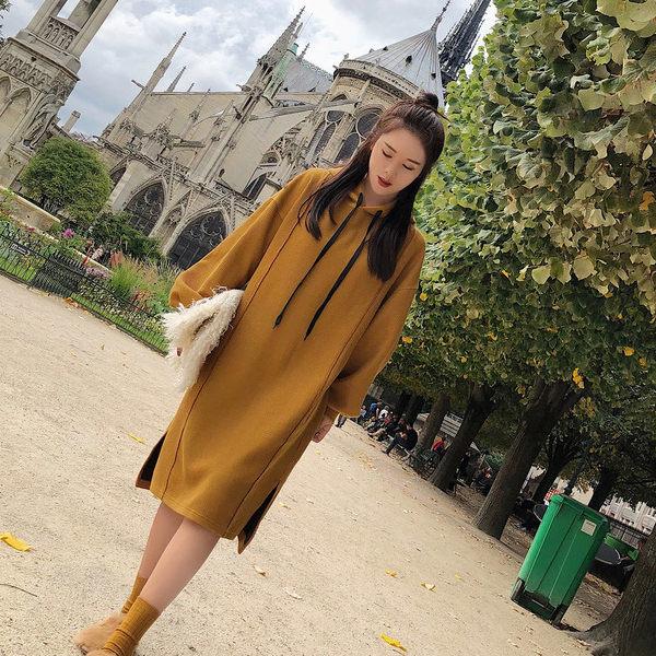 PS Mall 韓版長袖學院連帽抽繩中長款女連身裙子 洋裝【T1900】 - 限時優惠好康折扣