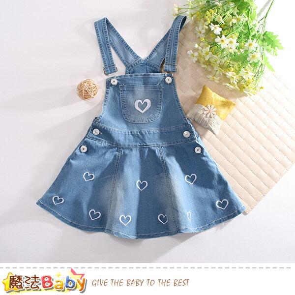 女童裝女童牛仔吊帶裙魔法Baby~k50736