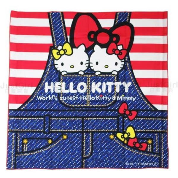 HELLO KITTY 便當包巾 包便當 餐巾 桌巾 桌布 牛仔褲 居家 正版日本製造進口 JustGirl