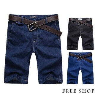 Free Shop【QR03067】日韓風格造型掀蓋口袋窄版全素面復古休閒短褲牛仔短褲‧三色