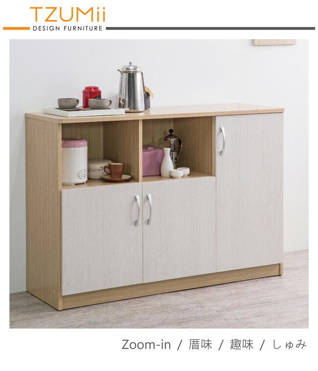 櫥櫃收納/櫥櫃/廚房 TZUMii無印風木紋美背三門二格收納廚房櫃