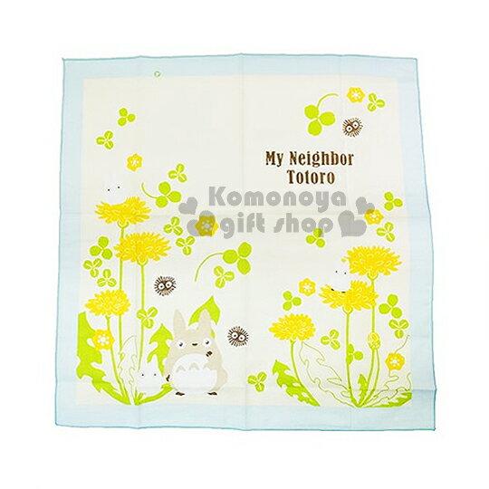 〔小禮堂〕宮崎駿 Totoro 龍貓 日製便當包巾《黃.花.朋友.藍邊.43x43cm》純綿100%