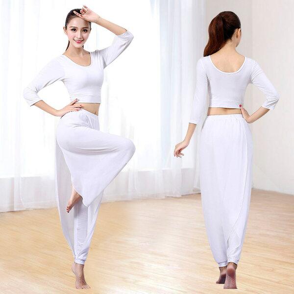 美琪白色瑜伽服雪紡瑜伽服套裝舞蹈健身服女露臍上衣雪紡飄逸