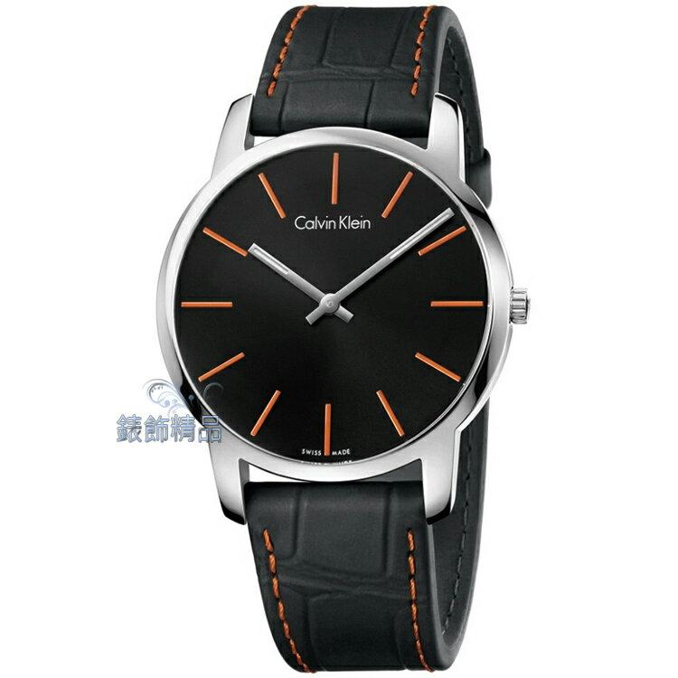 【錶飾精品】CK錶 CK手錶 經典時尚 都會型男 橘時標 黑皮帶男錶 K2G211C1 全新原廠正品 情人生日禮