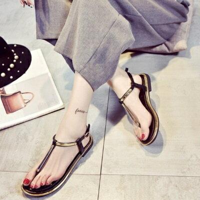 平底鞋T字羅馬涼鞋~ 簡約波希米亞風優雅女鞋子2色73ey3~ ~~米蘭 ~